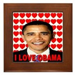 I Love Obama Framed Tile