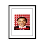 I Love Obama Framed Panel Print