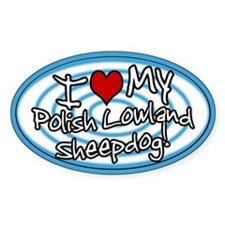 Hypno I Love My Polish Lowland Oval Sticker Blue