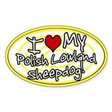 Hypno I Love My Polish Lowland Oval Sticker Ylw