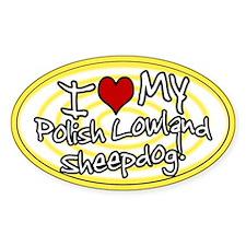Hypno I Love My Polish Lowland Oval Sticker Ylw