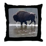 Backlit Bison Throw Pillow