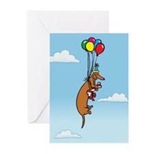Balloon Dachshund Birthday Greeting Cards (Pk of 1