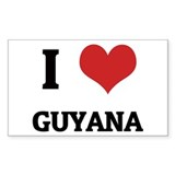 I Love Guyana Rectangle Decal