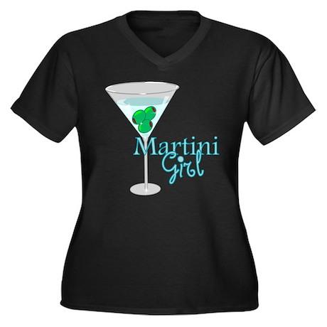 Martini Girl Women's Plus Size V-Neck Dark T-Shirt