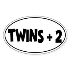 Twins Plus Two - Oval Bumper Stickers