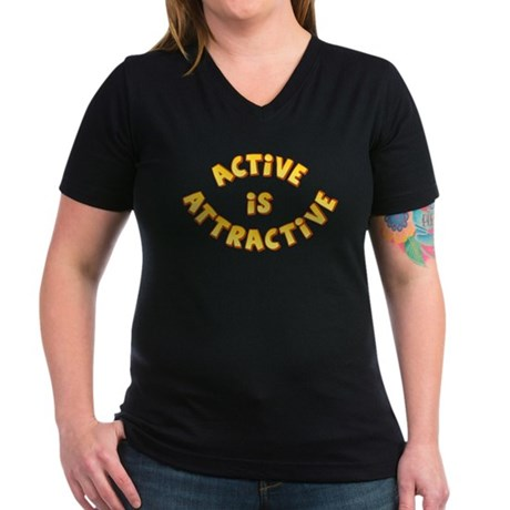 Active Is Attractive Women's V-Neck Dark T-Shirt