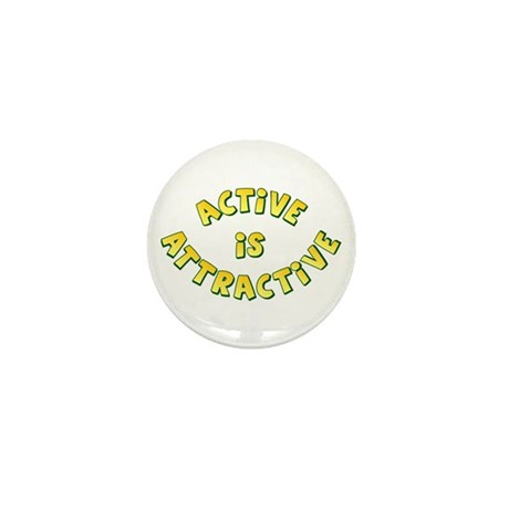 Active Is Attractive White Mini Button (10 pack)