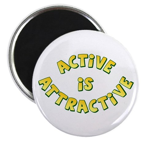 "Active Is Attractive White 2.25"" Magnet (100 pack)"