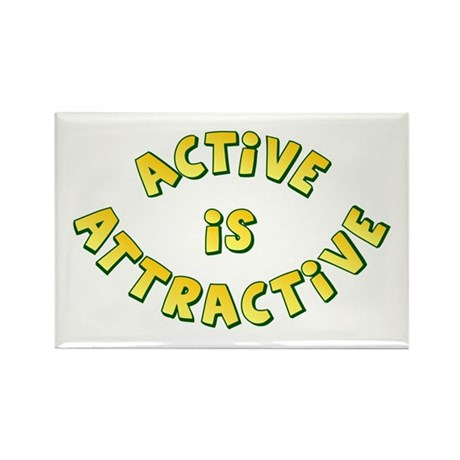 Active Is Attractive White Rectangle Magnet