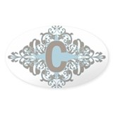 C Monogram Letter C Oval Decal