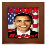 Obama Rocks Framed Tile