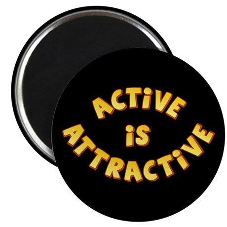 "Active Is Attractive Black 2.25"" Magnet (100 pack)"