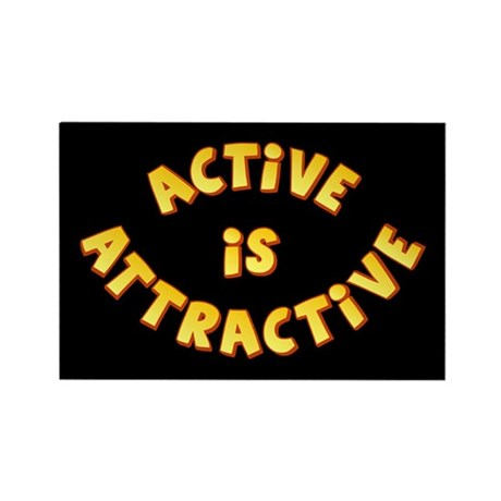Active Is Attractive Black Rectangle Magnet (100 p