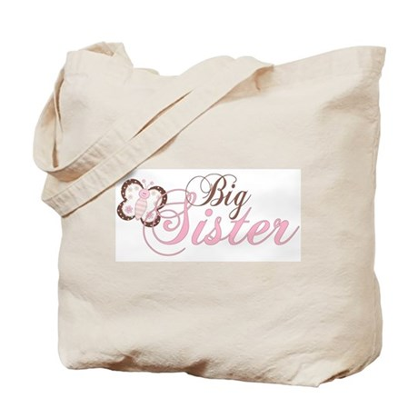 Pink Butterfly Big Sister Tote Bag