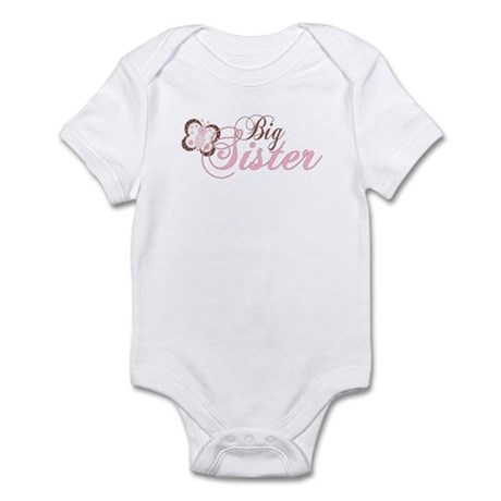 Pink Butterfly Big Sister Infant Bodysuit