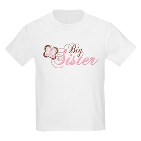 Pink Butterfly Big Sister Kids Light T-Shirt