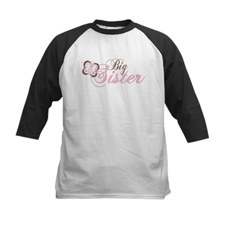 Pink Butterfly Big Sister Kids Baseball Jersey