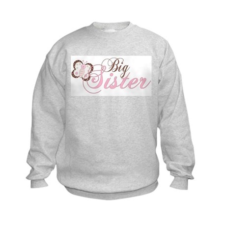 Pink Butterfly Big Sister Kids Sweatshirt