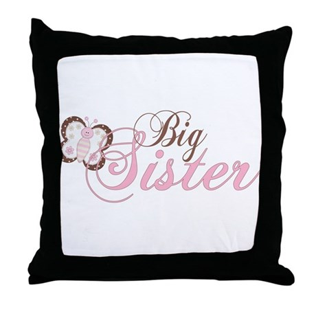 Pink Butterfly Big Sister Throw Pillow