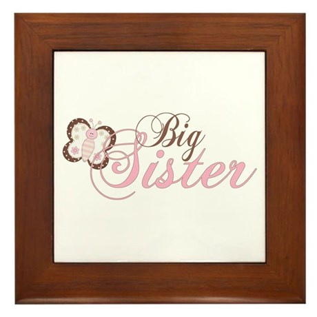 Pink Butterfly Big Sister Framed Tile