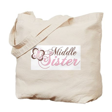 Pink Butterfly Middle Sister Tote Bag