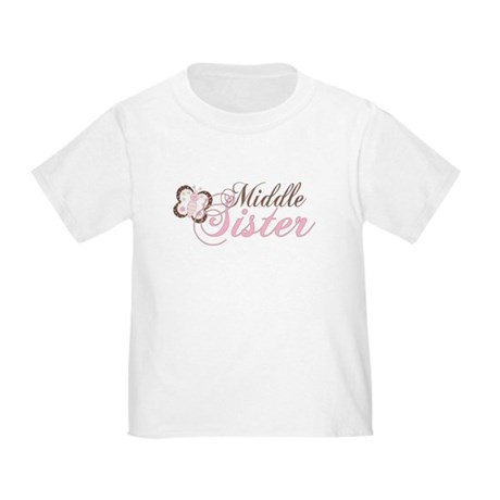 Pink Butterfly Middle Sister Toddler T-Shir