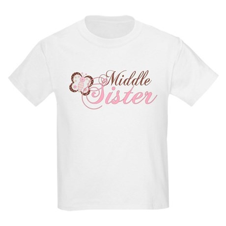 Pink Butterfly Middle Sister Kids Light T-Shirt