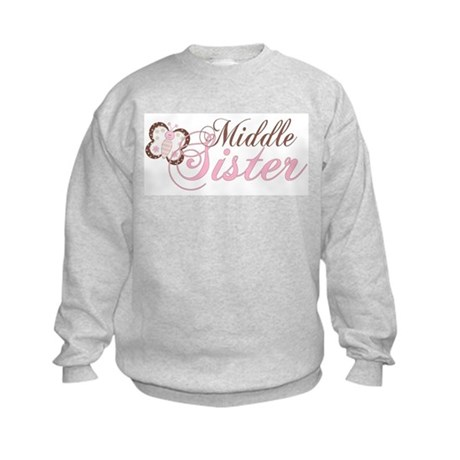 Pink Butterfly Middle Sister Kids Sweatshirt