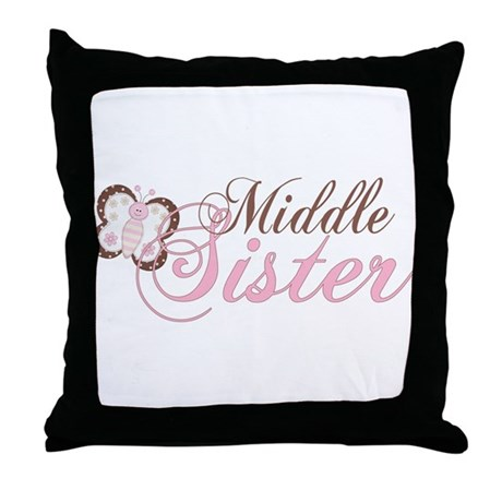 Pink Butterfly Middle Sister Throw Pillow