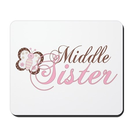 Pink Butterfly Middle Sister Mousepad