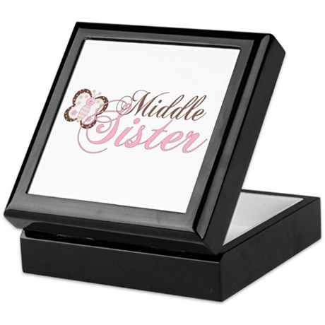 Pink Butterfly Middle Sister Keepsake Box