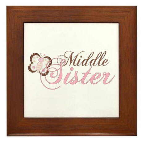 Pink Butterfly Middle Sister Framed Tile