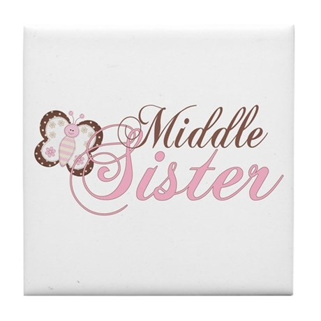 Pink Butterfly Middle Sister Tile Coaster