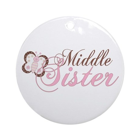 Pink Butterfly Middle Sister Ornament (Round)