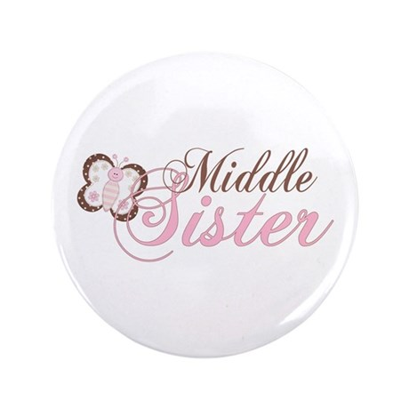 "Pink Butterfly Middle Sister 3.5"" Button"
