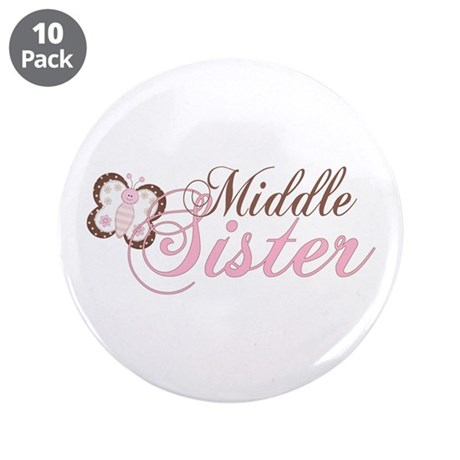 "Pink Butterfly Middle Sister 3.5"" Button (10 pack)"
