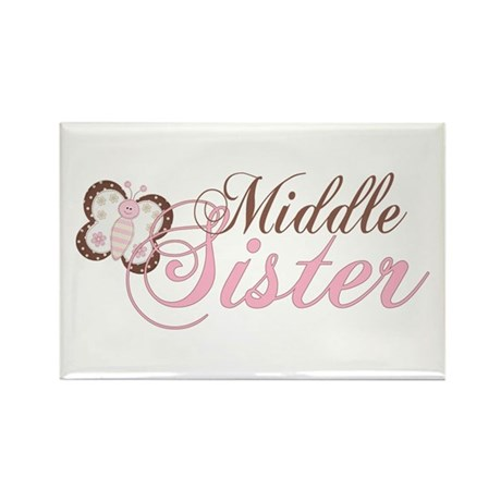 Pink Butterfly Middle Sister Rectangle Magnet