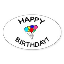 'Happy Birthday!' Oval Sticker (10 pk)