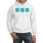 Cyan Owls Design Hooded Sweatshirt