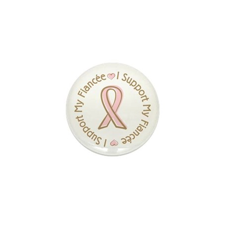 Breast Cancer Support Fiancee Mini Button (10 pack