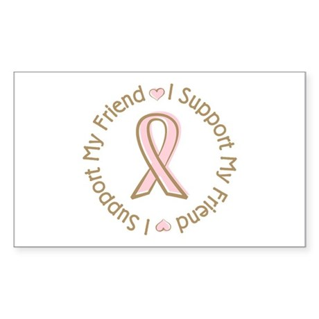 Breast Cancer Support Friend Rectangle Sticker 50