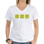 Yellow Owls Design Women's V-Neck T-Shirt