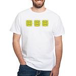 Yellow Owls Design White T-Shirt