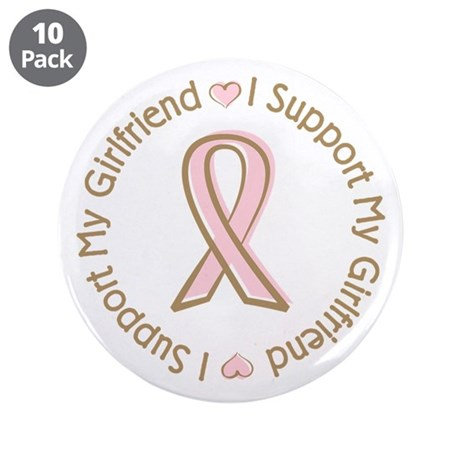 "Breast Cancer Support Girlfriend 3.5"" Button (10 p"