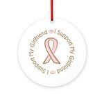 Breast Cancer Support Girlfriend Ornament (Round)