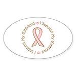 Breast Cancer Support Girlfriend Sticker (Oval 10