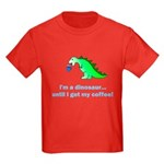 I'M A DINOSAUR WITHOUT COFFEE! Kids Dark T-Shirt