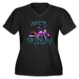 Biker Grandma Women's Plus Size V-Neck Dark T-Shir