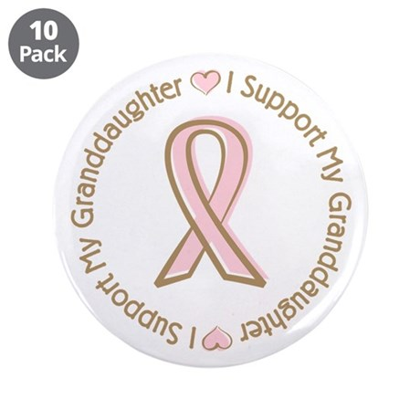 "Breast Cancer Support Granddaughter 3.5"" Button (1"